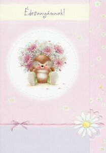 RARE Hallmark Country Companions Hedgehog ~ Mother's Day card  - Hungarian words