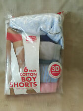 Fruit of Loom Womens Boy Shorts Panties Size 5 New Tag Free 5 Pack Cotton