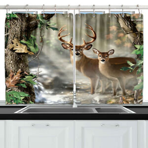 """Cute Deer And Tree Forest Kitchen Curtains Window Drapes 2 Panels Set 55*39"""""""