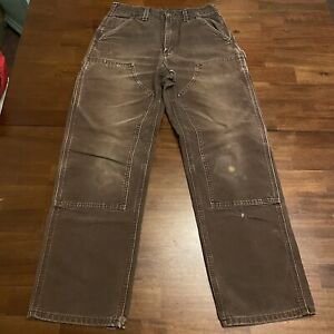 Vtg Carhartt Pants Union USA Brown Work Jeans 29 x 30 Logger Double Front WIP