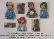 """10"""" Ann Estelle, Patsy Dolls & Friends Knitted Sweater Hats & Slippers Pattern"""