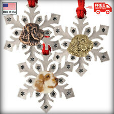 Pewter Dog Clumber Spaniel Snowflake Christmas Tree Ornaments, Made in the Usa