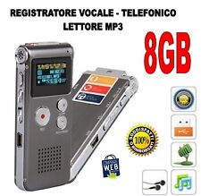 REGISTRATORE VOCALE TELEFONICO LETTORE MP3 8GB  MICROSPIA SPY DIGITALE