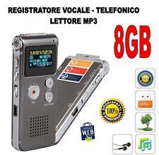 REGISTRATORE VOCALE TELEFONICO LETTORE MP3 8GB  MICROSPIA SPY DIGITALE