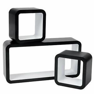 Set of 3 Floating Wall Shelf Floating Shelves DVD Storage Lounge Wood Cube  s14