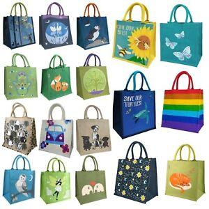 Jute Canvas Hessian Eco Shopper Reusable Bag Carrier Fairtrade Fun Green Large