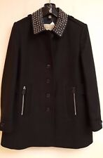 Burberry Brit Studded LEATHER Collar Wool CLASSIC Coat  sz 6 NWT jacket