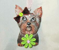 YORKIE Pendant Ornament OOAK polymer clay art dog handpainted sculpture original