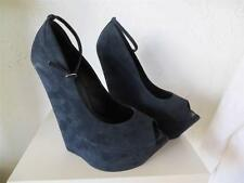 GIUSEPPE ZANOTTI NAVY SUEDE 7 INCH WEDGE Peep Toe Ankle Strap