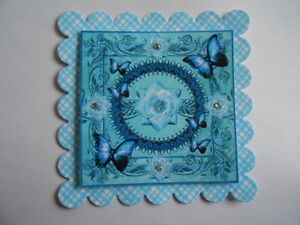 PACK 2  BLUE FLUTTER BUTTERFLY TOPPERS  FOR CARDS & CRAFTS