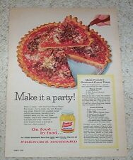 1959 ad page - French's Mustard - Good and Plenty party Pizza recipe - YUMMY AD