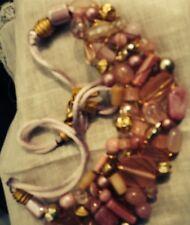 Vintage 1980's Era Lonnie Lovness Signed Pink Glass Stones  Vib Necklace