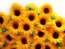 """(100pcs) Sun flower Artificial Silk Flower Heads 1.5"""" - Wedding Hair clip decor"""