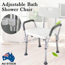 Adjustable Medical Shower Chair Bathtub Bench Bath Seat Stool Armrest Back White