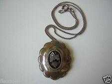 Biedermeier Anhänger Silber+14 kt Gold,Saatperlen 835 Silberkette 8,7 g/38,5cm