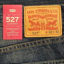Levis 527 Jeans Mens New Slim Boot Cut Size 32 x 32 DARK BLUE WITH FADE Levi's