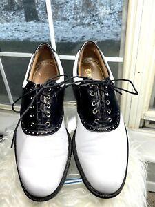 Footjoy FJ ICON Traditional Golf Shoes Mens 9.5 M White w/ Black Croc