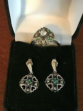 925 CC Sterling Silver Filigree Emerald & White Topaz Ring SZ 8 & Earrings