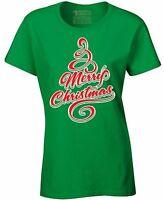 Merry Christmas Tree Ladies T-shirt Ugly Christmas Shirt Best Xmas Santa Gift
