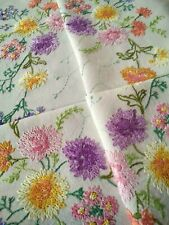 'Fairistytch'? Chrysanthemums/Babies Breath  Vintage Hand Embroidered Tablecloth