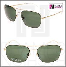 GUCCI Square Aviator Techno Color GG2262S Gold Green Mirrored Sunglasses 2262