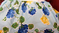 "Laura Ashley Twin Floral Bed Skirt 14"" Drop Unused Yellow Blue Geranium Print"