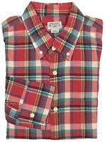 J. Crew Summer Plaid Shirt Large Mens Long Sleeve Button Down Check Size Sz L