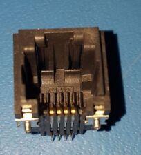 RJ11 Modular PCB Jack, Connector, LED, Straight Angle, Board Lock, AMP, 25 Pcs
