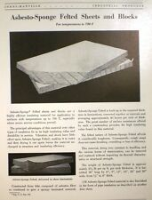 ASBESTOS Asbesto-Sponge Sheets Blocks JOHNS-MANVILLE 1949