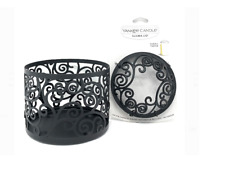 YANKEE CANDLE BLACK SCROLL JAR HOLDER & ILLUMA JAR CANDLE TOPPER SET NEW IN BOX