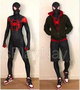 Miles Morales Into Spider Verse Cosplay Costume Spiderman Zentai Suit Halloween