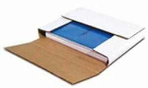 """50 Small Book Bookfold 10.25x8.25x1.25"""" White Multi Depth Corrugated Mailer Box"""