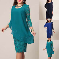 FP- Womens Lace 3/4 Sleeve Midi Dress Ladies Evening Party Cocktail Dresses Surp