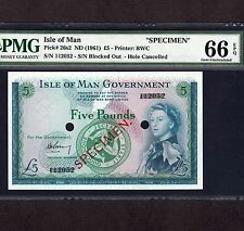 Isle of Man, 5 Pounds 1961, P-26s2 * Specimen * PMG Gem Unc 66 EPQ * Rare *