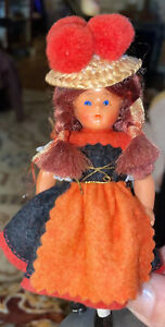 """Antique Sleepy Eyed European Hard Plastic Doll With Stand 5 1/2"""" High"""