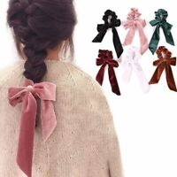 New Velvet Scrunchies Elastic Hair Band Bow Hair Ropes Girls Hair Ties Headband~