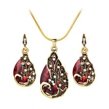 Peacock Waterdrop Crystal Necklace Pendant Earrings Female Jewelry Set G