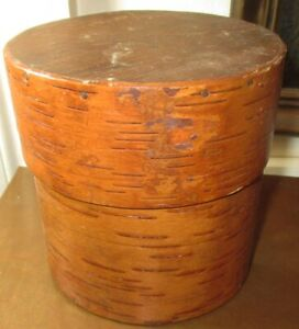 1990 HANDMADE LARGE BIRCH BARK LIDDED CONTAINER MAINE GUIDE E. CRIE