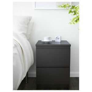 IKEA MALM chest of 2 drawers black-brown