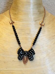Betsey Johnson Necklace Runway Bow Crystal Rhinestone Polka Dot Statement NWT