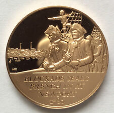 1971 Franklin Mint Blockade Seals French in at Newport Proof Bronze Medal A3438