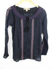 Ladies Vtg 90s Gypsy Bohemian Folk Peasant Hippie Tassel Embroidered Tunic Top