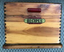 Vintage Wood Recipe Box Bakelite Handle 1920's