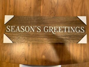 "Season's Greetings Wood Words Wall Decor Sign 24"" x 8"""