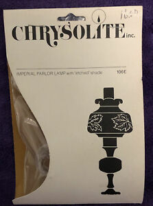 NOS Dollhouse Miniature Chrysolite Imperial Parlor Lamp with Etched Shade Kit