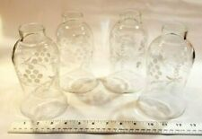 4 Vintage/Antique Etched Glass Globes from a Glass/Crystal Chandelier