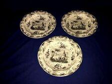 "(3) Antique 1800s Mesopotania BLUE & WHITE Transferware 9 1/4"" Rimmed Soup Bowls"