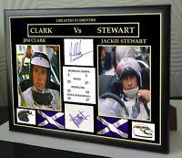Jim Clark Jackie Stewart F1 Greats Framed Canvas Print Signed