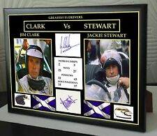 Jim Clark Jackie Stewart F1 Greats Framed Canvas Print Signed
