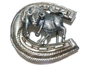 """""""CG"""" MEXICO MEXICAN STERLING SILVER ORNATE BULL COW COWBOY RODEO BELT BUCKLE"""